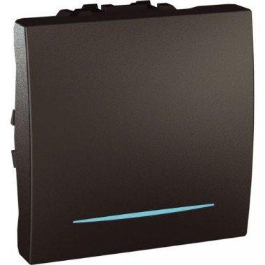 Выключатель кнопочный 1-клавишный с подсветкой, 2м,  Schneider Electric Unica, графит - описание, характеристики, отзывы