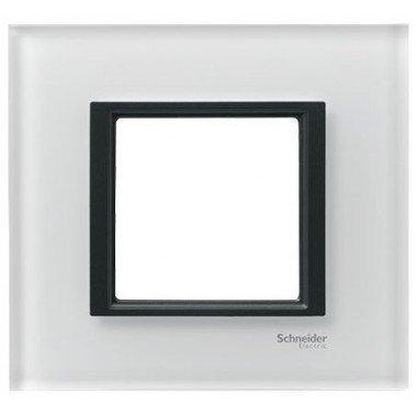 Рамка 1-постовая Schneider Electric Unica CLASS, белое стекло - описание, характеристики, отзывы