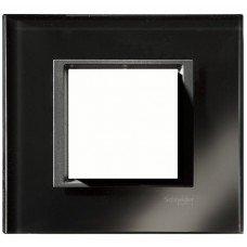 Рамка 1-постовая Schneider Electric Unica CLASS, черное стекло