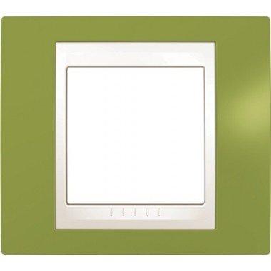 Рамка 1-постовая Schneider Electric Unica Plus, фисташковый/слоновая кость - описание, характеристики, отзывы