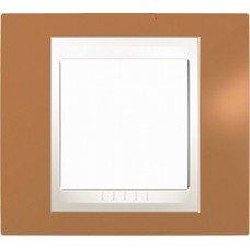 Рамка 1-постовая Schneider Electric Unica Plus, оранжевый/слоновая кость