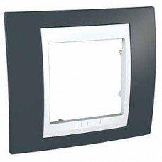 Рамка 1-постовая Schneider Electric Unica Plus, серо-зеленый/белый