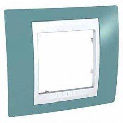 Рамка 1-постовая Schneider Electric Unica Plus, синий/белый