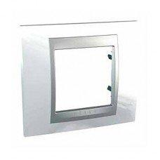 Рамка 1-постовая  Schneider Electric Unica ТОР,белоснежный/алюминий