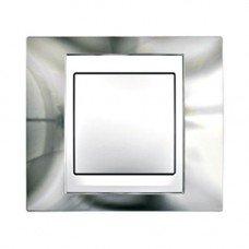 Рамка 1-постовая  Schneider Electric Unica ТОР, хром глянцевый/белый