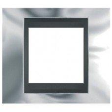 Рамка 1- постовая  Schneider Electric Unica ТОР, хром глянцевый/графит