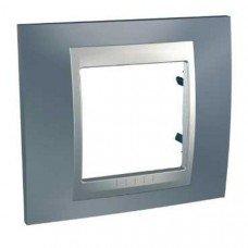 Рамка 1-постовая  Schneider Electric Unica ТОР, металлик/алюминий