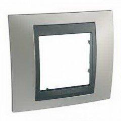Рамка 1-постовая  Schneider Electric Unica ТОР,никель матовый/графит