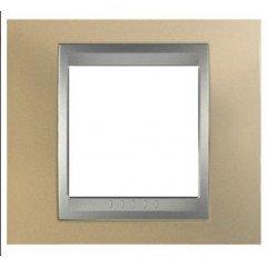 Рамка 1-постовая  Schneider Electric Unica ТОР, оникс медный/алюминий