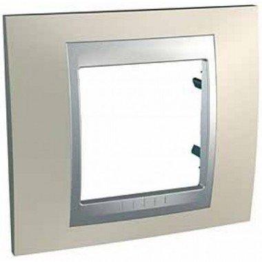 Рамка 1-постовая  Schneider Electric Unica ТОР, титан/алюминий - описание, характеристики, отзывы
