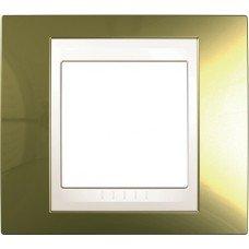 Рамка 1-постовая  Schneider Electric Unica ТОР, золото/слоновая кость