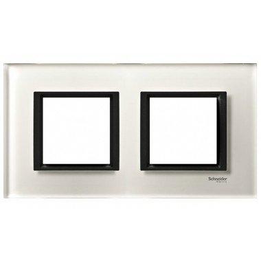 Рамка 2-постовая горизонтальная  Schneider Electric Unica CLASS, белое стекло - описание, характеристики, отзывы