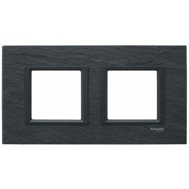 Рамка 2-постовая горизонтальная  Schneider Electric Unica CLASS, черный камень (иберийский сланец) - описание, характеристики, отзывы