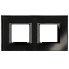 Рамка 2-постовая горизонтальная  Schneider Electric Unica CLASS, черное стекло