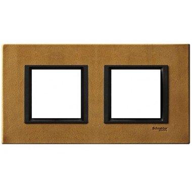 Рамка 2-постовая горизонтальная  Schneider Electric Unica  CLASS, кожа Сахара - описание, характеристики, отзывы