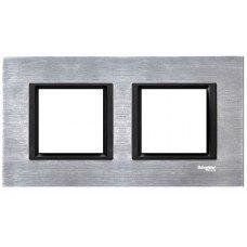 Рамка 2-постовая горизонтальная  Schneider Electric Unica CLASS, серебристый алюминий