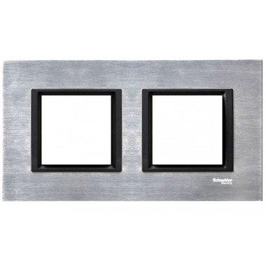 Рамка 2-постовая горизонтальная  Schneider Electric Unica CLASS, серебристый алюминий - описание, характеристики, отзывы