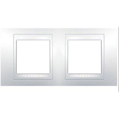 Рамка 2-постовая горизонтальная  Schneider Electric Unica Plus, белый/белый - описание, характеристики, отзывы