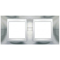 Рамка 2-постовая  Schneider Electric Unica ТОР, хром глянцевый/белый