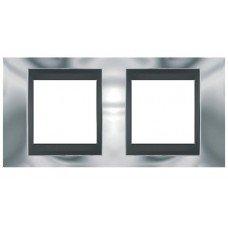Рамка 2-постовая  Schneider Electric Unica ТОР, хром глянцевый/графит
