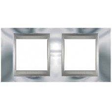 Рамка 2-постовая  Schneider Electric Unica ТОР, хром глянцевый/алюминий