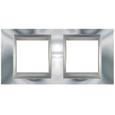 Рамка 2-постовая  Schneider Electric Unica ТОР, хром глянцевый/алюминий - описание, характеристики, отзывы
