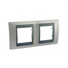 Рамка 2-постовая  Schneider Electric Unica ТОР,никель матовый/графит
