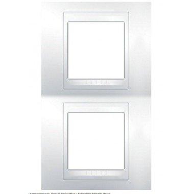 Рамка 2-постовая вертикальная  Schneider Electric Unica Plus, белый/белый - описание, характеристики, отзывы