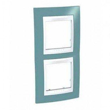 Рамка 2-постовая вертикальная Schneider Electric Unica Plus, синий/белый - описание, характеристики, отзывы