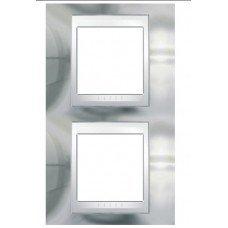 Рамка 2-постовая вертикальная Schneider Electric Unica ТОР, хром глянцевый/белый