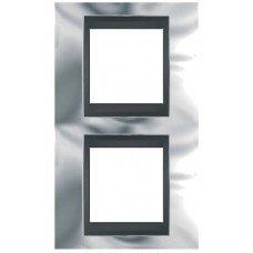 Рамка 2-постовая вертикальная Schneider Electric Unica ТОР, хром глянцевый/графит