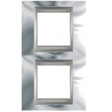 Рамка 2-постовая вертикальная Schneider Electric Unica ТОР, хром глянцевый/алюминий