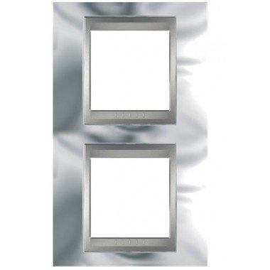 Рамка 2-постовая вертикальная Schneider Electric Unica ТОР, хром глянцевый/алюминий - описание, характеристики, отзывы