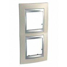 Рамка 2-постовая вертикальная Schneider Electric Unica ТОР, титан/алюминий
