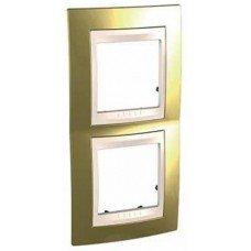 Рамка 2-постовая  вертикальная Schneider Electric Unica ТОР, золото/слоновая кость