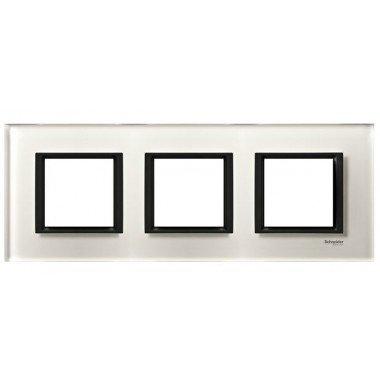 Рамка 3-постовая горизонтальная  Schneider Electric Unica CLASS, белое стекло - описание, характеристики, отзывы