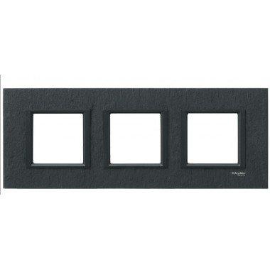 Рамка 3-постовая горизонтальная  Schneider Electric Unica CLASS, черный камень (иберийский сланец) - описание, характеристики, отзывы