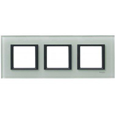 Рамка 3-постовая горизонтальная  Schneider Electric Unica CLASS, матовое стекло - описание, характеристики, отзывы