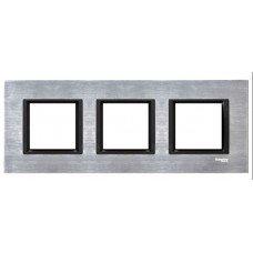 Рамка 3-постовая горизонтальная  Schneider Electric Unica CLASS, серебристый алюминий