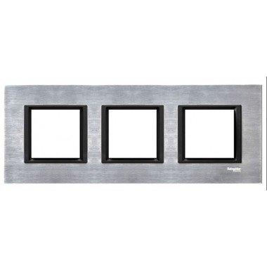 Рамка 3-постовая горизонтальная  Schneider Electric Unica CLASS, серебристый алюминий - описание, характеристики, отзывы