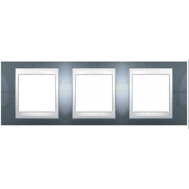 Рамка 3-постовая горизонтальная Schneider Electric Unica Plus, голубой лед/белый - описание, характеристики, отзывы