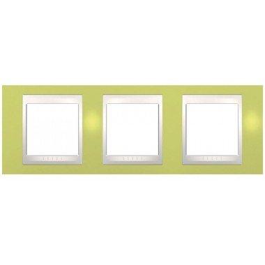 Рамка 3-постовая горизонтальная Schneider Electric Unica Plus, зеленое яблоко/бежевый - описание, характеристики, отзывы