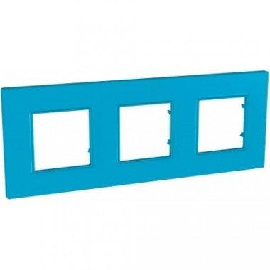 """Рамка 3-постовая  Schneider Electric Unica Quadro, """"Aqua"""" (синий) - описание, характеристики, отзывы"""