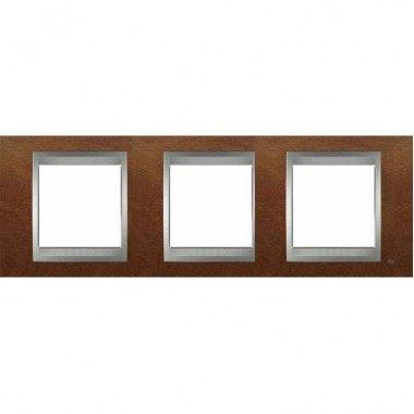 Рамка 3-постовая  Schneider Electric Unica ТОР, черешня/алюминий - описание, характеристики, отзывы