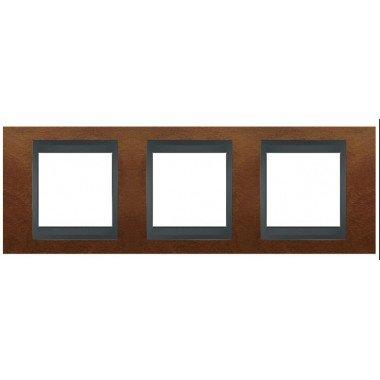 Рамка 3-постовая  Schneider Electric Unica ТОР, черешня/графит - описание, характеристики, отзывы