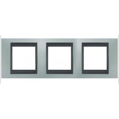 Рамка 3-постовая  Schneider Electric Unica ТОР, изумрудный/графит - описание, характеристики, отзывы