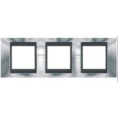 Рамка 3-постовая  Schneider Electric Unica ТОР, хром глянцевый/графит - описание, характеристики, отзывы
