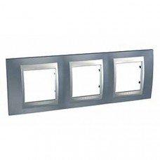 Рамка 3-постовая  Schneider Electric Unica ТОР, металлик/алюминий