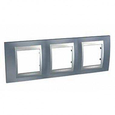Рамка 3-постовая  Schneider Electric Unica ТОР, металлик/алюминий - описание, характеристики, отзывы