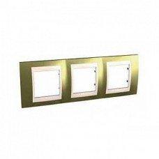 Рамка 3-постовая  Schneider Electric Unica ТОР, золото/слоновая кость